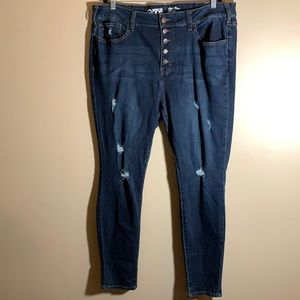 Warehouse One High Rise Distressed Skinny Jeans
